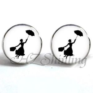 Jewelry - NEW Black White Mary Poppins Round Stud Earrings